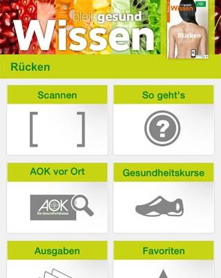 AOK-Wissen-App für das Erleben von Augmented Reality im Printheft